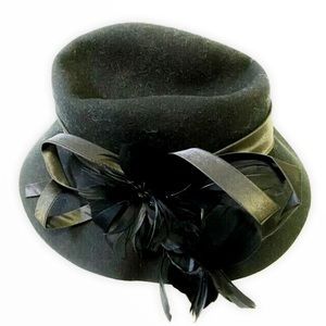 Josette Feather & Flower Embellished Wool Hat